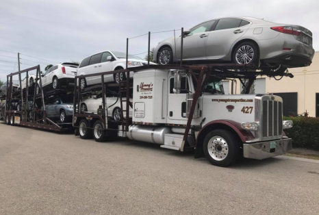 truck delivers various kinds of cars