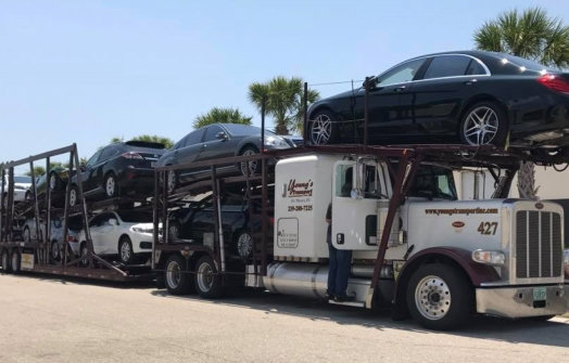 car carrier loaded with cars